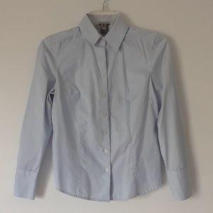Ann Taylor Pinstripe Cotton Button Down Shirt